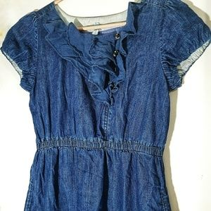Anthropologie Maeve Denim Ruffle Front Dress M